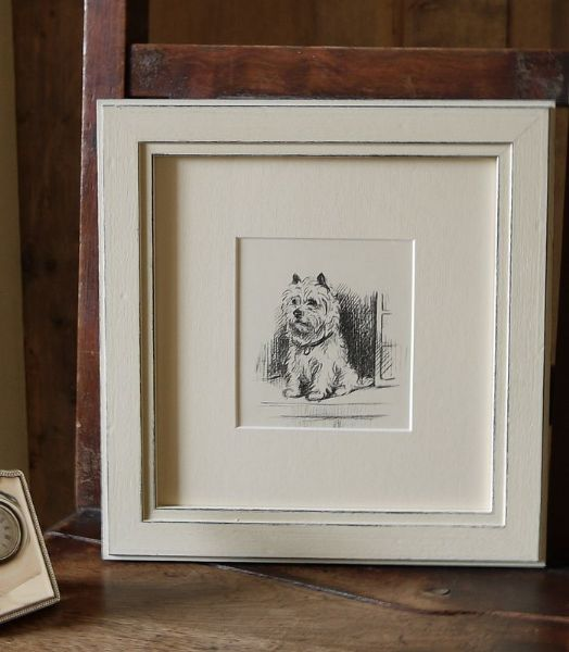 Westie - sitting by open door  1940's print by Lucy Dawson Wes D5